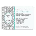 Nurse Graduation BSN RN black turquoise damask 13 Cm X 18 Cm Invitation Card