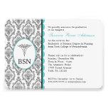 Nurse Graduation BSN RN black turquoise damask Invite