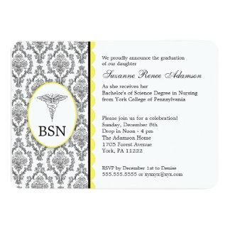 Nurse Graduation BSN RN black yellow damask 13 Cm X 18 Cm Invitation Card