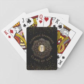Nurse Graduation Caduceus Symbol Black Gold Custom Playing Cards