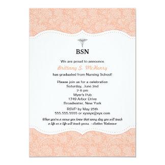 Nurse graduation coral damask BSN RN LPN CNA etc 13 Cm X 18 Cm Invitation Card