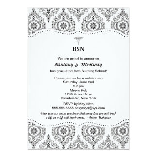 Nurse graduation modern damask BSN RN LPN CNA etc 13 Cm X 18 Cm Invitation Card
