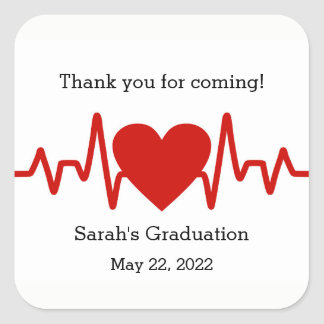 Nurse graduation party favor sticker / heart beat