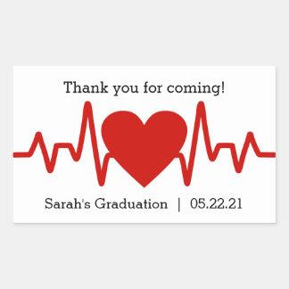 Nurse graduation party favor sticker / heart beat