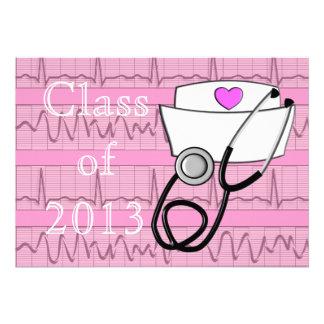 Nurse Graduation Party Invitations EKG Paper