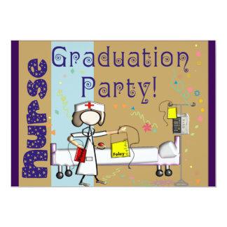 "Nurse Graduation Party Invitations Purple 5"" X 7"" Invitation Card"