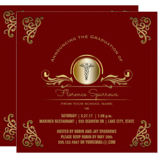 Nurse Graduation Party   Red Gold Pinning Ceremony Card