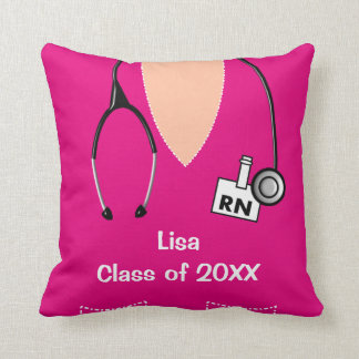 Nurse Graduation Scrub Top Pillow Magenta