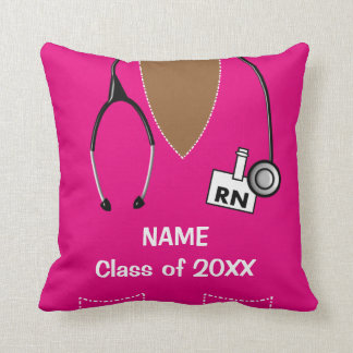 Nurse Graduation Scrub Top Pillow Magenta II