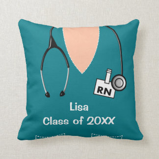 Nurse Graduation Scrub Top Teal Throw Pillow