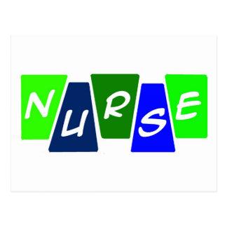 Nurse - Green Blue Postcard