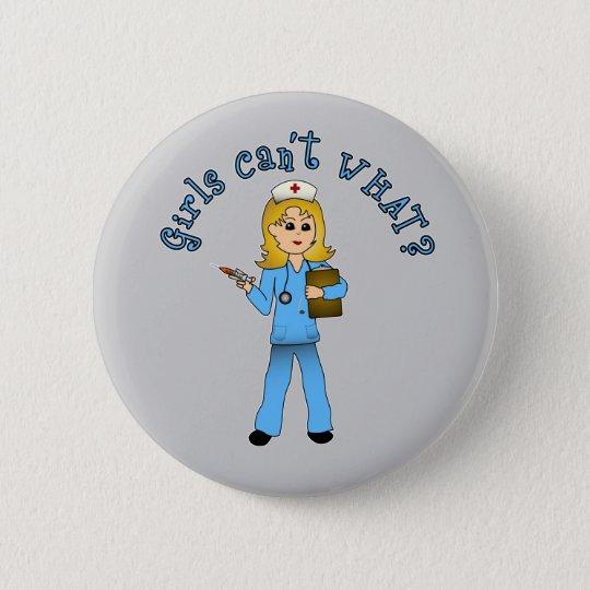 Nurse in Blue Scrubs (Blonde) 6 Cm Round
