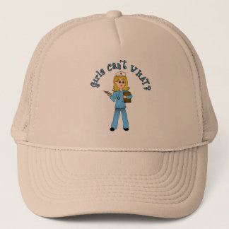 Nurse in Blue Scrubs (Blonde) Trucker Hat