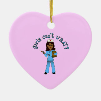 Nurse in Blue Scrubs (Dark) Ceramic Heart Decoration