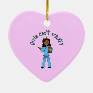 Nurse in Blue Scrubs (Dark) Ceramic Heart Decoration