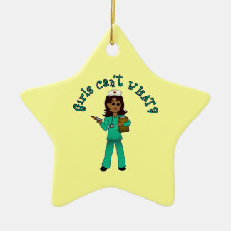Nurse in Blue Scrubs (Dark) Ceramic Star Decoration