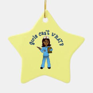 Nurse in Blue Scrubs (Dark) Ceramic Star Decoration