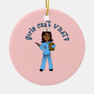 Nurse in Blue Scrubs (Dark) Christmas Tree Ornament