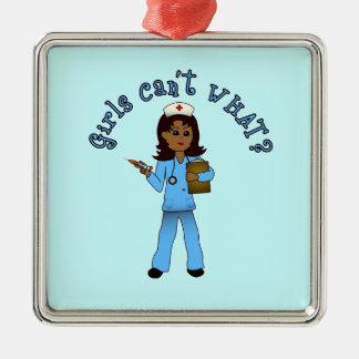 Nurse in Blue Scrubs (Dark) Silver-Colored Square Decoration