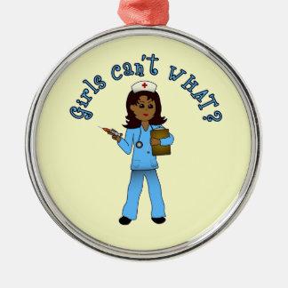 Nurse in Blue Scrubs (Dark) Silver-Colored Round Decoration