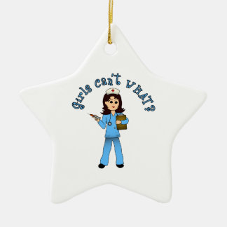 Nurse in Blue Scrubs (Light) Ceramic Star Decoration