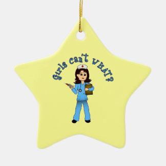 Nurse in Blue Scrubs (Light) Ceramic Star Decoration