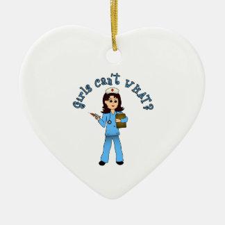 Nurse in Blue Scrubs (Light) Ceramic Heart Decoration