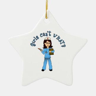 Nurse in Blue Scrubs (Light) Double-Sided Star Ceramic Christmas Ornament