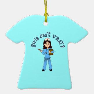 Nurse in Blue Scrubs (Light) Ceramic T-Shirt Decoration