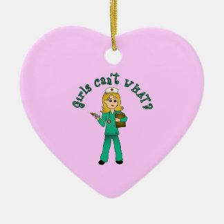 Nurse in Green Scrubs (Blonde) Ceramic Heart Decoration