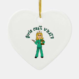 Nurse in Green Scrubs (Blonde) Ceramic Heart Decoration
