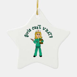 Nurse in Green Scrubs (Blonde) Ceramic Star Decoration