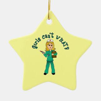 Nurse in Green Scrubs (Blonde) Ornaments