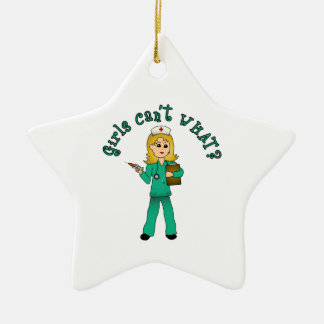 Nurse in Green Scrubs (Blonde) Double-Sided Star Ceramic Christmas Ornament