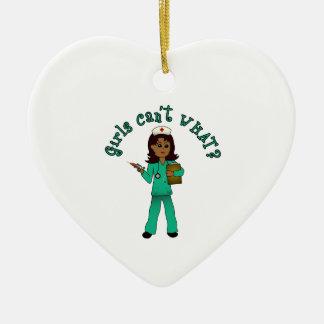 Nurse in Green Scrubs (Dark) Ceramic Heart Decoration
