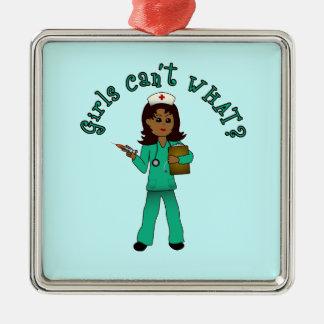 Nurse in Green Scrubs (Dark) Christmas Tree Ornament