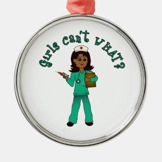 Nurse in Green Scrubs (Dark) Silver-Colored Round Decoration