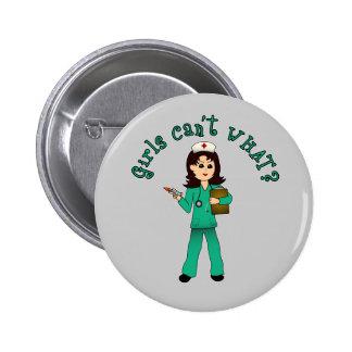 Nurse in Green Scrubs (Light) 6 Cm Round Badge