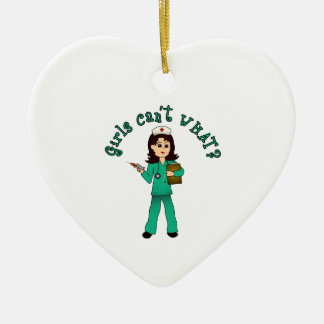 Nurse in Green Scrubs (Light) Ceramic Heart Decoration