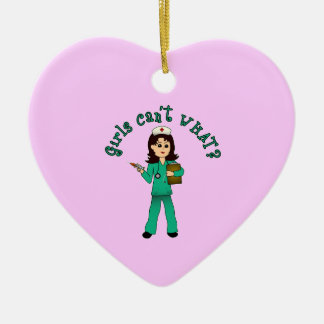Nurse in Green Scrubs (Light) Ceramic Heart Decoration
