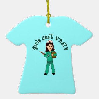 Nurse in Green Scrubs (Light) Ceramic T-Shirt Decoration