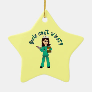 Nurse in Green Scrubs (Light) Double-Sided Star Ceramic Christmas Ornament