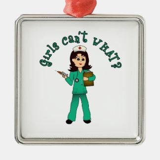 Nurse in Green Scrubs (Light) Christmas Ornament