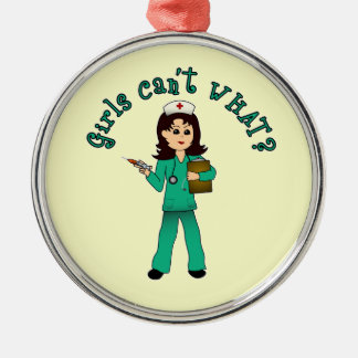 Nurse in Green Scrubs (Light) Silver-Colored Round Decoration