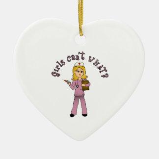 Nurse in Pink Scrubs (Blonde) Ceramic Heart Decoration