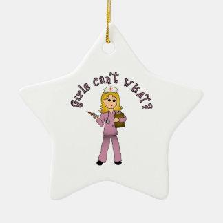 Nurse in Pink Scrubs (Blonde) Christmas Tree Ornaments