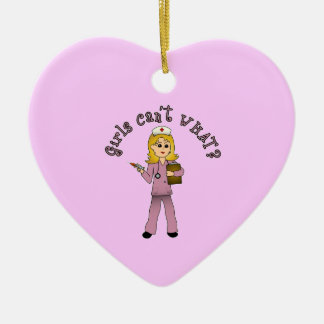 Nurse in Pink Scrubs (Blonde) Double-Sided Heart Ceramic Christmas Ornament