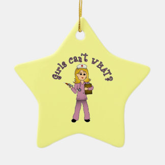 Nurse in Pink Scrubs (Blonde) Ceramic Star Decoration