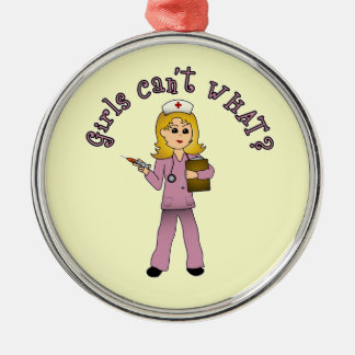 Nurse in Pink Scrubs (Blonde) Ornaments