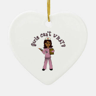 Nurse in Pink Scrubs (Dark) Ceramic Heart Decoration